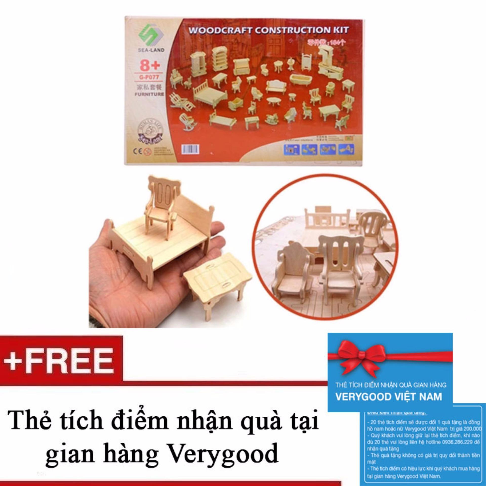 Đồ chơi ghép hình 3D bằng gỗ 184 chi tiết cho bé + Tặng kèm 1 thẻ tích điểm nhận quà tại gian hàng Verygood