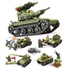 Đồ chơi lắp ráp mô hình xe tăng và lính đánh bộ 4 trong 1 (Xanh rêu)