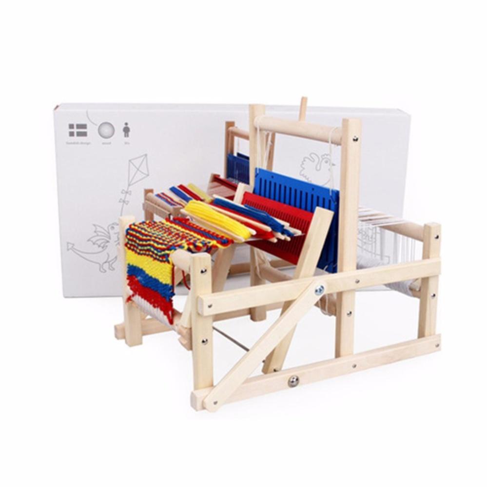 Đồ chơi máy dệt len mini thủ công DIY bằng gỗ