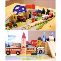 Đồ chơi mô hình thành phố bằng gỗ kèm thảm chơi cho bé