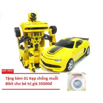 Đồ chơi ô tô biến hình thành Robot (Vàng) tặng kèm Kẹp chống muỗi cho bé