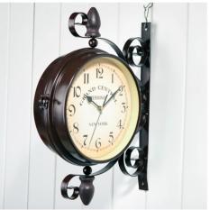 Đồng hồ sắt trang trí treo tường 2 mặt Cổ điển Retro Clock