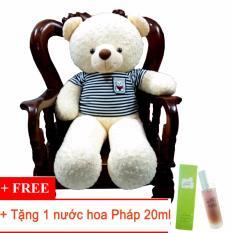Gấu bông Teddy cao cấp áo thun Benny màu trắng khổ vải 1m4 +Tặng 1 nước hoa Pháp 20ml-TEDDYKT12COMBO1(nhà bán hàng Diabrand)