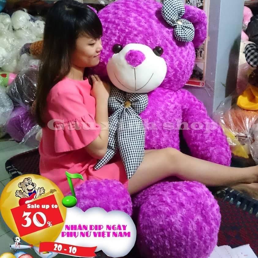 Gấu bông Teddy màu TÍM - Khổ vải 1,4m cao 1,2m