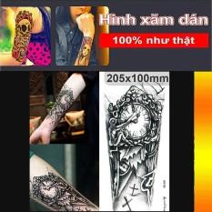 Hình xăm dán bắp tay kích thước 21 x 15 cm – Đồng hồ quỷ