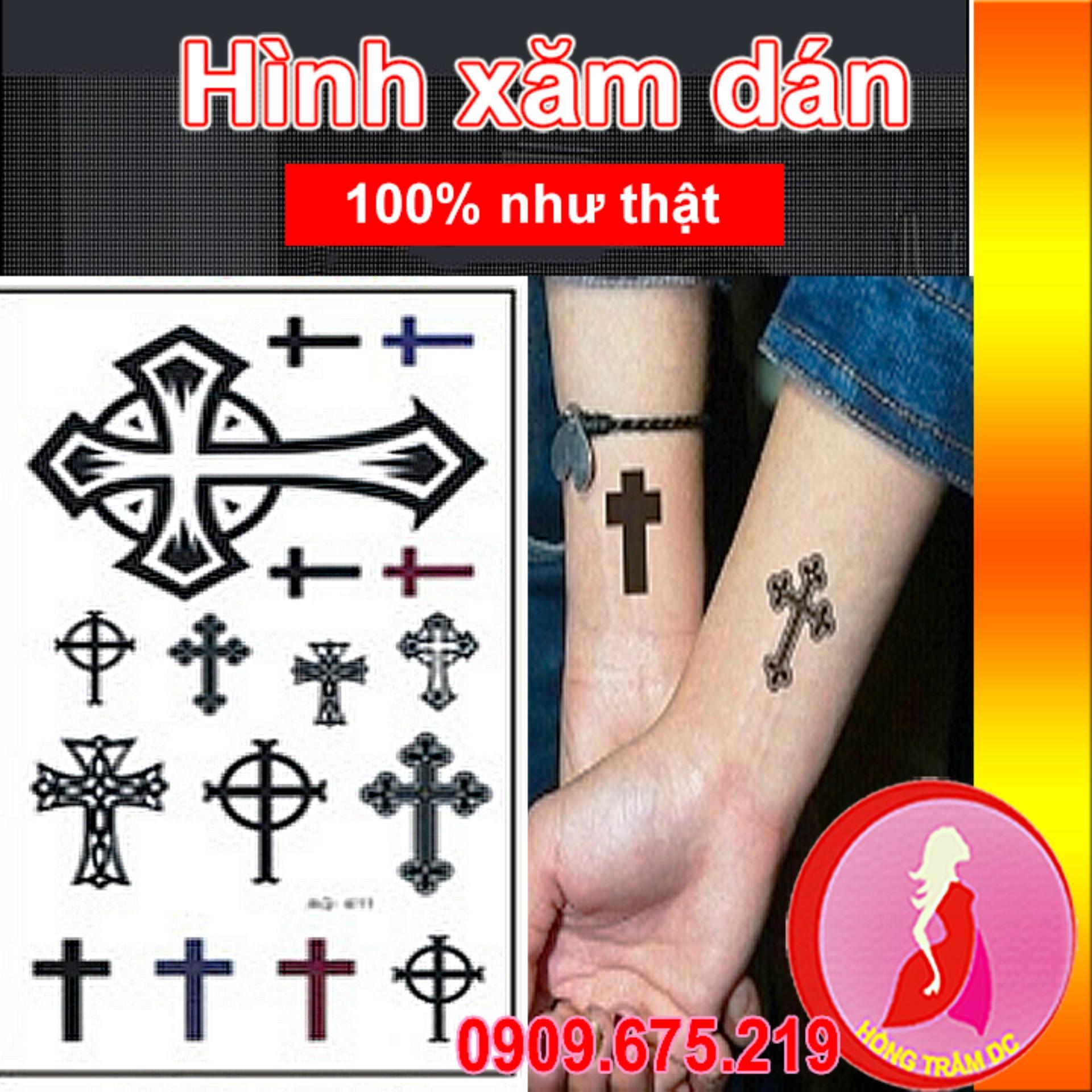 Hình xăm dán tattoo cao cấp – nghệ thuật cho nam nữ – thập giá