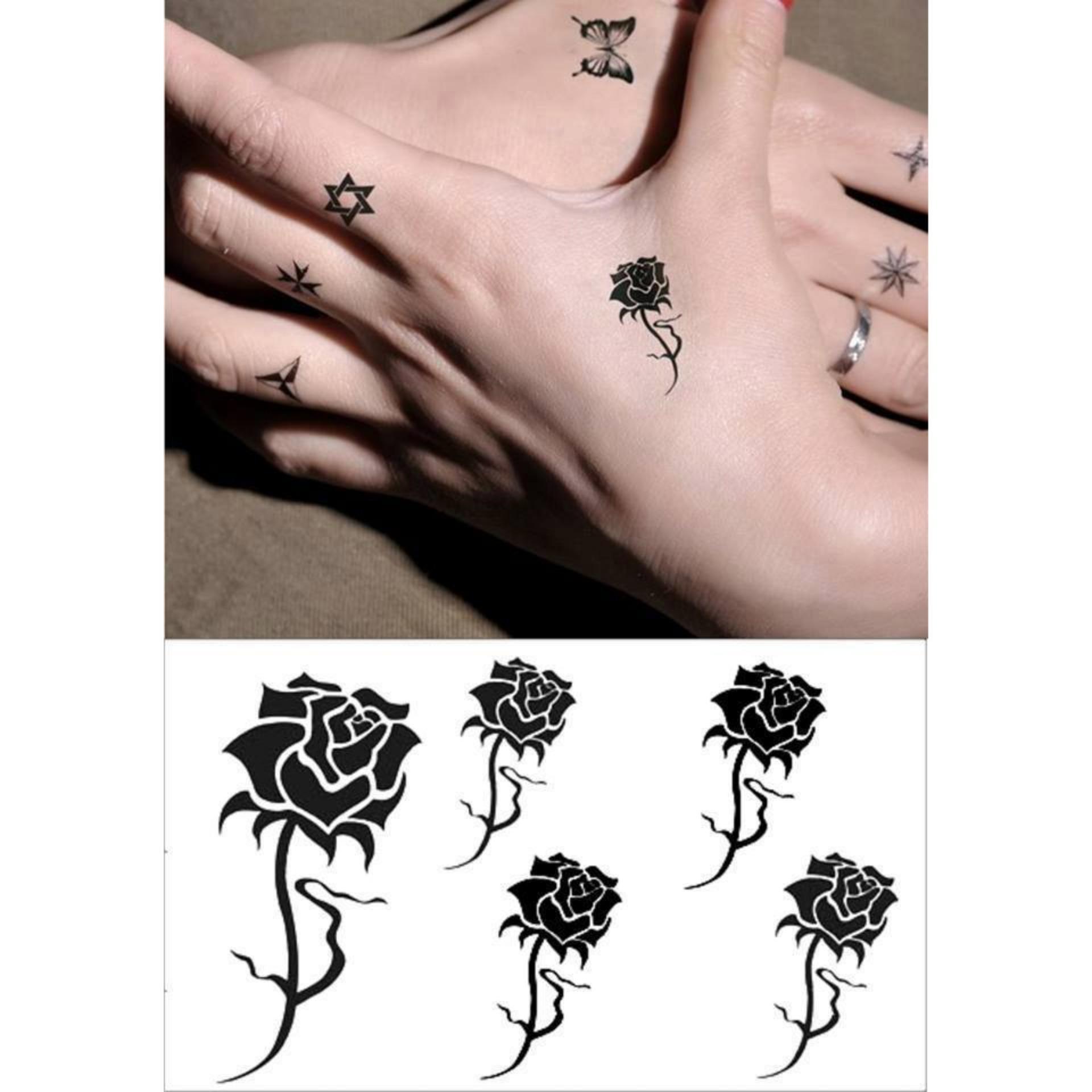 Hình Xăm Dán Tattoo Hoa Hồng Đen