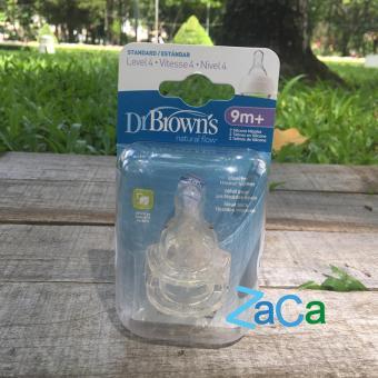 Hộp 2 núm ty bình sữa DR. BROWN cổ hẹp size 4 (>9th)