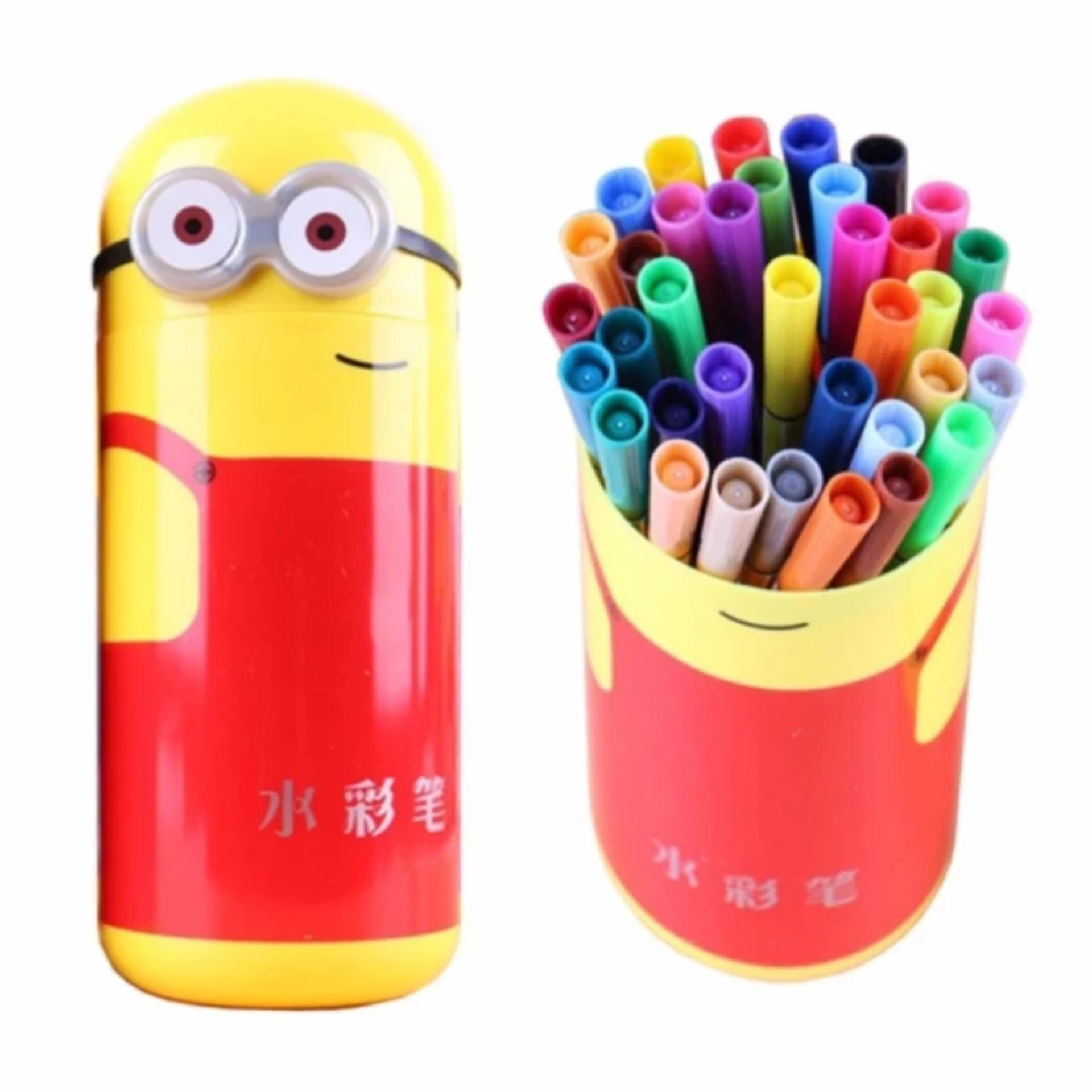 Hộp bút lông Minion đáng yêu cho bé (kèm 24 bút lông tô màu)