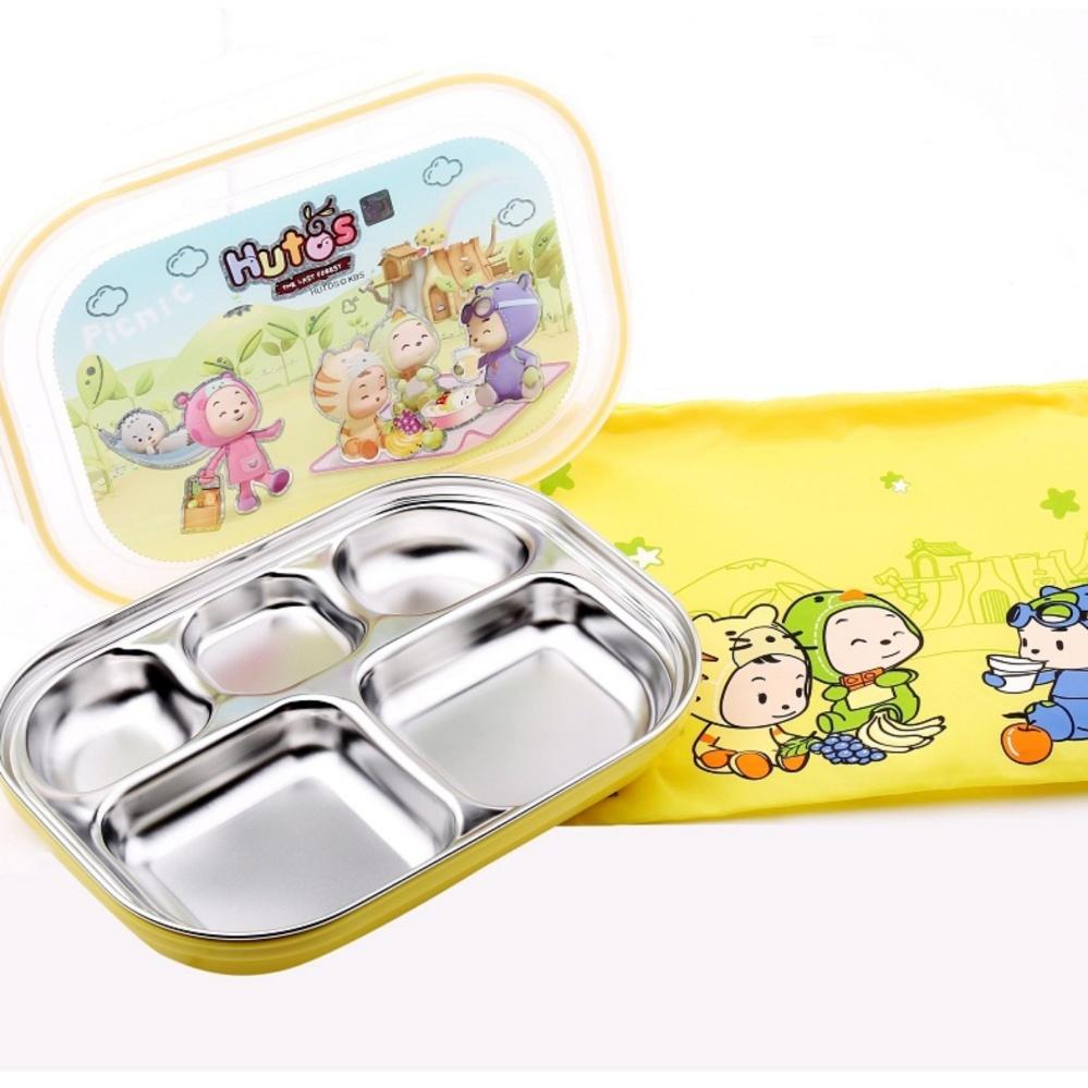 Hộp cơm 2 lớp Inox Baby Hàn Quốc 5 ngăn TERRA SK8 250ml có nắp đậy và khay lót bằng nhựa PP (Trắng vàng)