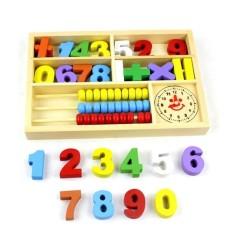 Hộp học toán số đồng hồ đồ chơi gỗ, đồ chơi giáo dục