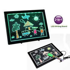 leegoal LED Writing Board For Kids, 2 In 1 Children Graffiti Painting Tablet White Side And Black Lighting Board With Stand And 36 Dimming Modes 32.5*24CM