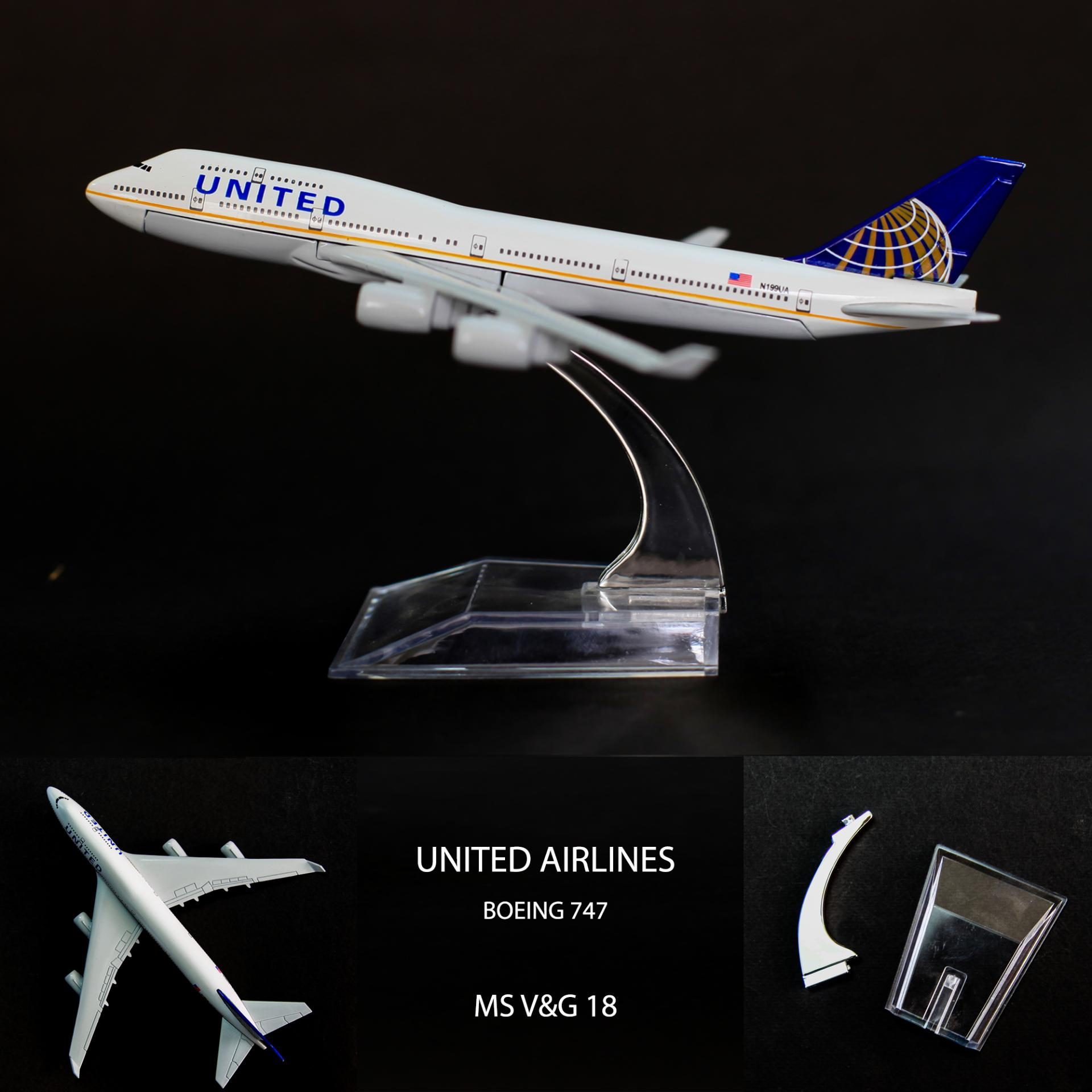 MÔ HÌNH MÁY BAY BOEING 747 16CM (Bằng kim loại)