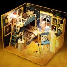 Mô hình nhà gỗ DIY có đèn – Căn gác mái (có mica) DiyDollHouse