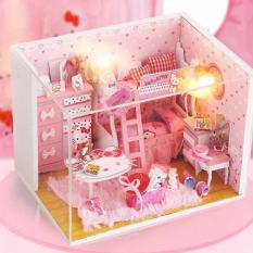 Mô hình nhà gỗ DIY- Nhà búp bê Mèo Hồng