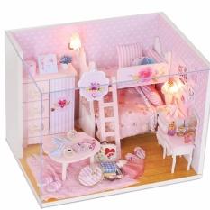 Mô hình nhà gỗ DIY- Nhà búp bê màu hồng cho bé gái Tặng kèm mica che bụi và dụng cụ lắp ghép