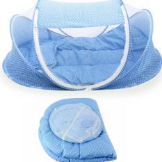 Mùng tự bung có nhạc cho bé kèm nệm lót và gối ngủ – màu xanh