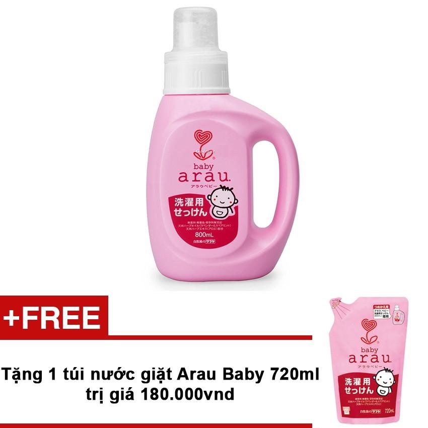 Chỗ bán Nước giặt dạng bình Arau Baby 800ml + Tặng túi nước giặt Arau Baby 720ml trị giá 180.000VND