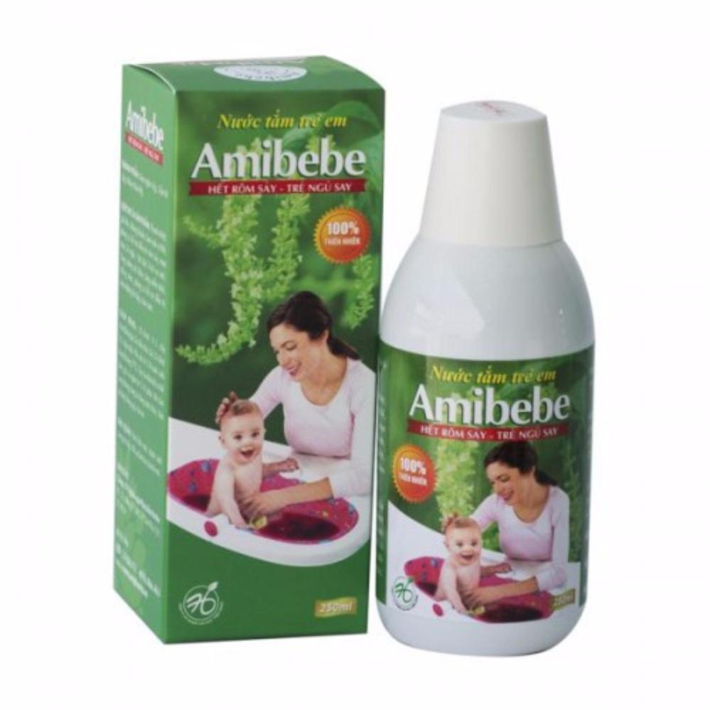 Nước tắm thảo dược trẻ em Amibebe 250ml phòng rôm sảy