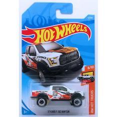ô tô mô hình tỉ lệ 1:64 Hot Wheels 2018 17 Ford F-150 Raptor ( Màu Trắng Cam )