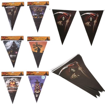 Party Halloween Triangle Flag Spooky Bunting Pennant Festival Decor 2M - intl