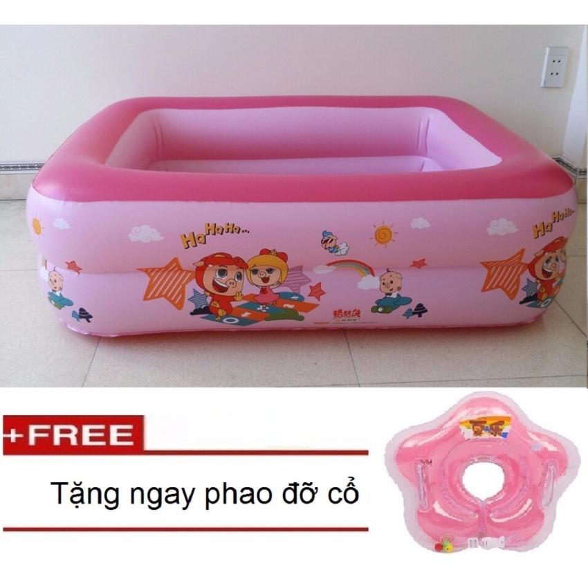 Hình ảnh Phao hồ bơi phao trẻ em 2 tầng D1-135(Hồng)125x90x35cmTặng kèm đồ chơi con quay