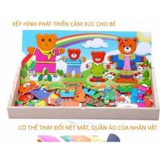 Phương pháp Montessori xếp hình các nhân vật hoạt hình bằng gỗ phát triển cảm xúc dành cho bé