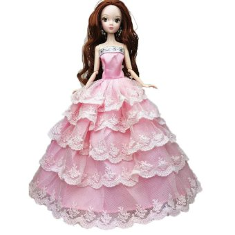 Pink Handmade Fashion Wedding Gown Dresses Party For Barbie DollGift - intl