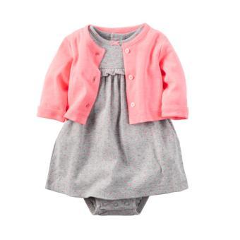 OE680TBAA6F3V7VNAMZ-11835239 - Set 2 đầm xám chấm bi và áo khoác hồng (Size 6 đến 12 tháng)