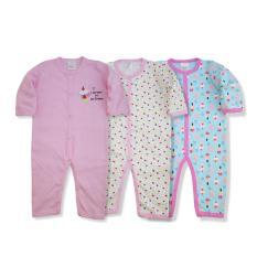 Set 3 bộ body dài tay Baby Gear hàng xuất dư đẹp cho bé gái