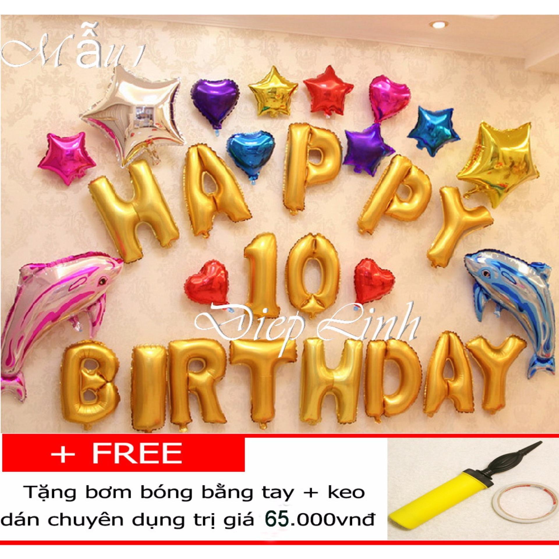 Sét bong bóng sinh nhật trang trí nhiều mẫu - Diệp Linh