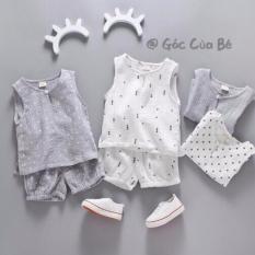 Set quần áo Xiaoyifang cho bé trai (xám, trắng)