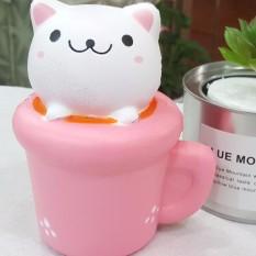 Squishy – Cốc mèo hồng/ SUN PLAZA ( còn rất nhiều loại squishy mới về : squishy dâu , squishy chuối, squishy đào.. )