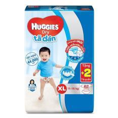 Tã dán Huggies Dry Super Jumbo XL62 62 miếng (11-16kg) + Tặng 2 miếng tã quần