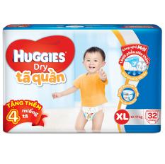 Tã quần Huggies Dry Pants Jumbo XL32 (12 - 17kg) + Tặng 4 miếng /gói