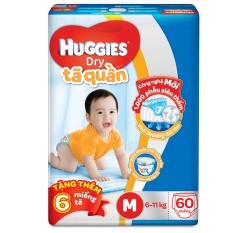 Tã quần Huggies Dry Pants M60 (5 - 10kg) + Tặng 6 miếng /gói