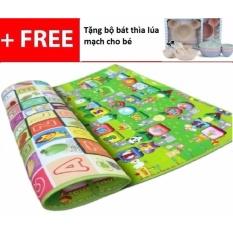 Thảm xốp 2 mặt cho bé Maboshi 200x180x0.5 cm (Nhiều màu) + Tặng 1 bộ bát thìa lúa mạch cho bé