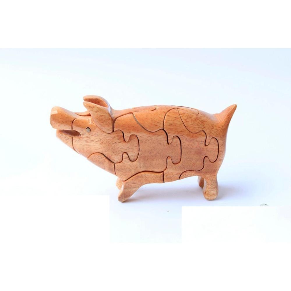 Thú gỗ lắp ghép 3D hình chú heo (Lợn) TGH07
