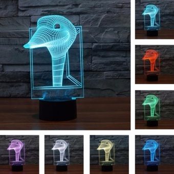 Touch Switch 7 Colors Changing Night light 3D VisualLEDLamp(Ostrich 03� - intl