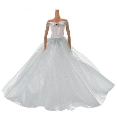 Kéo Váy Áo Cưới cho Barbies Đồ Chơi Sợi Lưới Đầm Barbies Búp Bê Trắng-quốc tế
