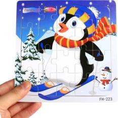 Tranh ghép hình 2 lớp, 20 miếng ghép bằng gỗ: Chim cánh cụt trượt tuyết