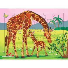 Tranh xếp hình Hươu mẹ và Hươu Con + Tặng kèm 1 tranh tô màu cho bé