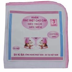 Túi 10 Khăn sữa KiBa 3 lớp 100% cotton siêu mềm (Kích thước 26 x 32 cm)