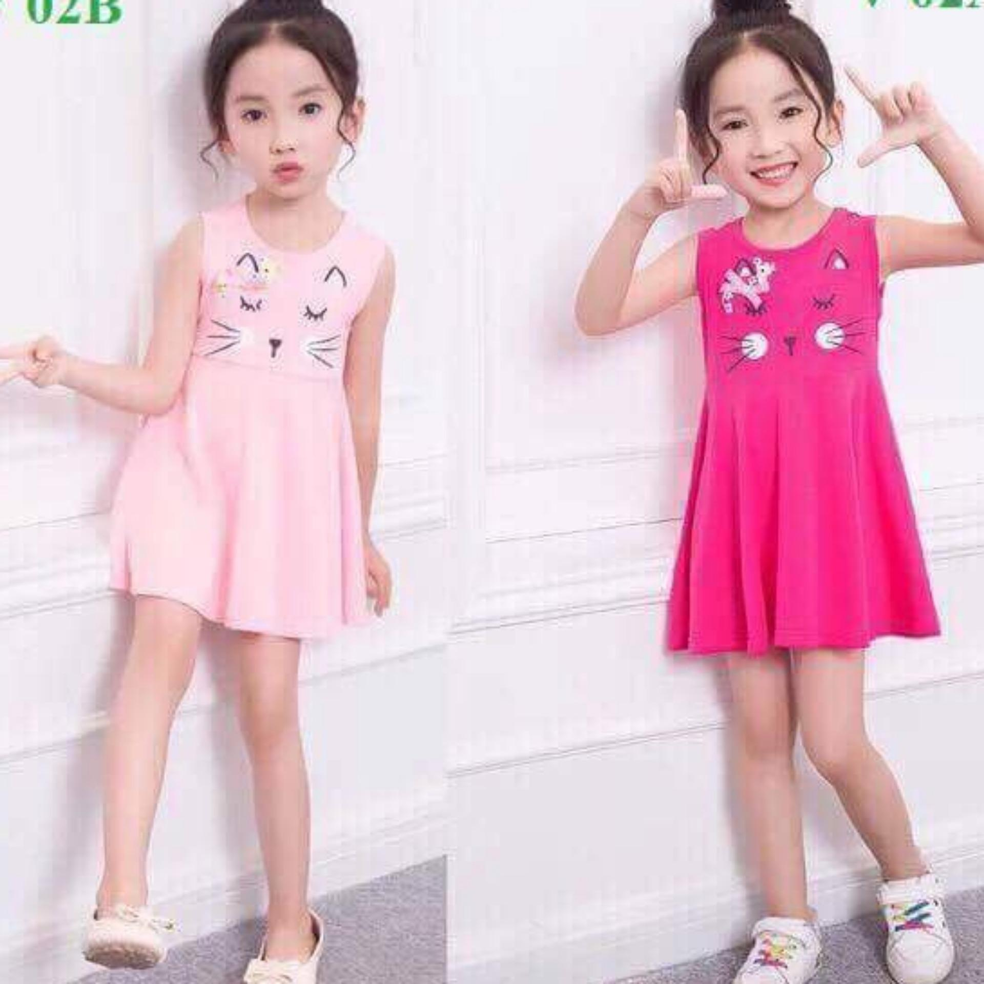 Váy cotton sát nách hình mèo hồng cho bé gái từ 8kg đến 28kg