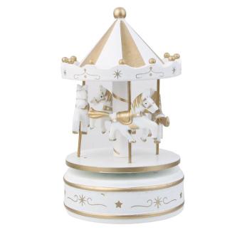Wooden Merry-Go-Round Carousel Wind Up Music Box Kids Gift (White) - intl