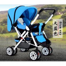 Xe nôi xe đẩy em bé hai chiều Haowei 606 hai tư thế nằm ngồi siêu nhẹ có thể gấp xách tay cho bé 0-3 tuổi màu trắng xanh -AL
