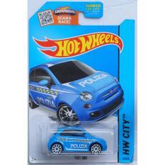 Xe ô tô mô hình tỉ lệ 1:64 Hot Wheels Treasure Hunt Fiat 500 Hw City 50/250 ( Màu Xanh )