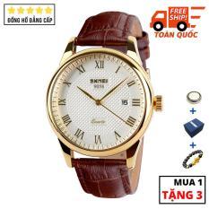Đồng hồ nam dây da cao cấp chịu va đập chống xước SKMEI SK021 – Arman Watches (Trắng)