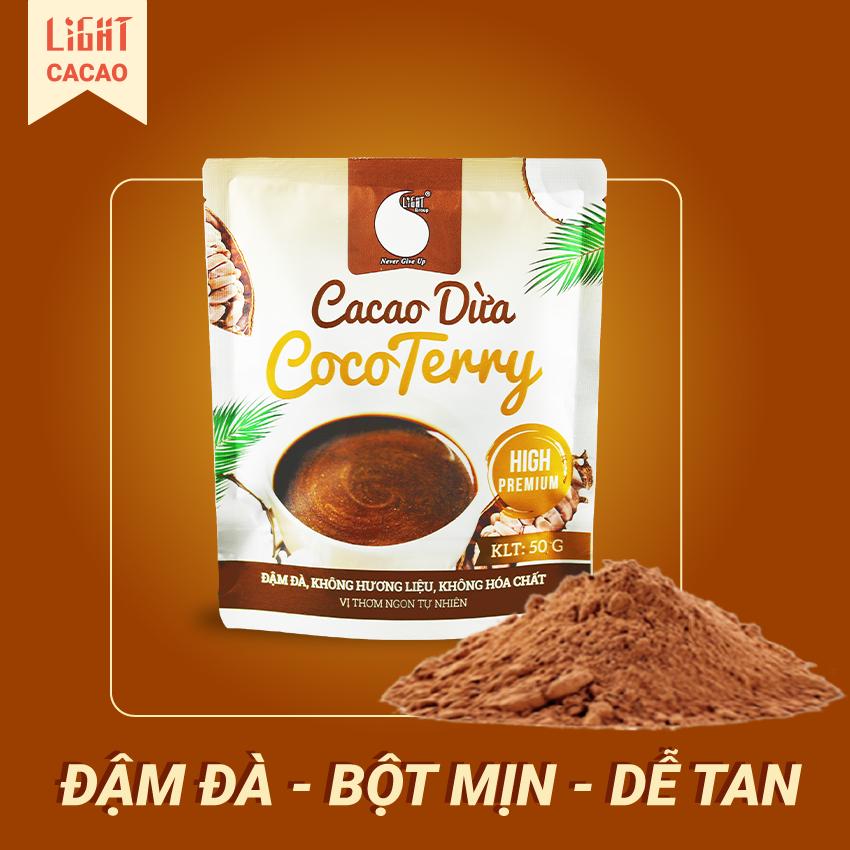 Bột Cacao sữa dừa CocoTerry vị béo thơm, đậm đà, không hương liệu, an toàn sức khỏe Gói 50g
