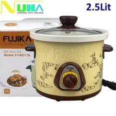 Nồi nấu chậm 2.5L Fujika FJ-KC25 dùng để hầm cháo em bé chưng yến kho cá giữ được hương vị của thức ăn bảo hành 12T màu ngẫu nhiên